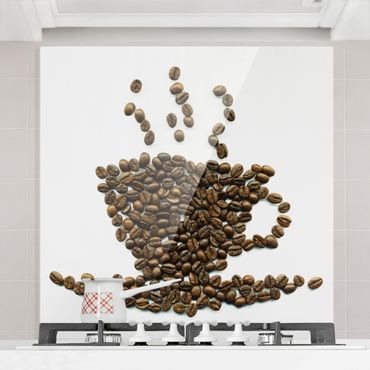 Paraschizzi in vetro - Coffee Beans Cup - Quadrato 1:1