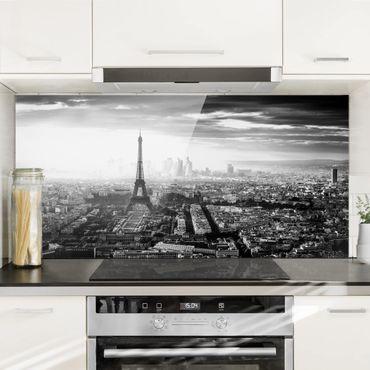Paraschizzi in vetro - La Torre Eiffel dall'alto in bianco e nero - Orizzontale 1:2