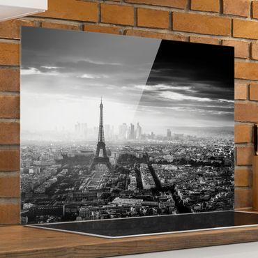 Paraschizzi in vetro - La Torre Eiffel dall'alto in bianco e nero - Orizzontale 3:4