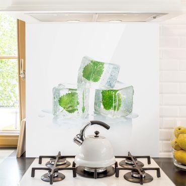 Paraschizzi in vetro - Three Ice Cubes With Lemon Balm - Quadrato 1:1