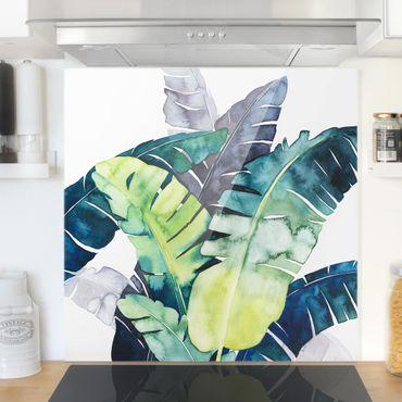 Paraschizzi in vetro - Foglie tropicali - Banana - Quadrato 1:1