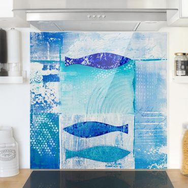 Paraschizzi in vetro - Fish In The Blue - Quadrato 1:1