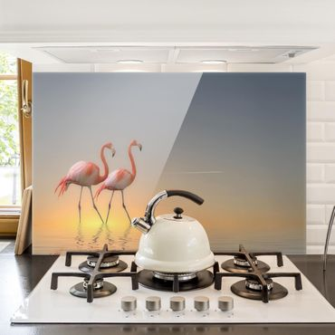 Paraschizzi in vetro - Flamingo Love - Orizzontale 2:3