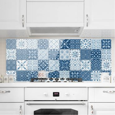 Paraschizzi in vetro - Tile Pattern Mix Blue White - Panoramico
