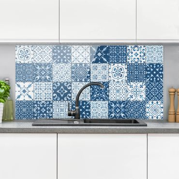 Paraschizzi in vetro - Tile Pattern Mix Blue White - Orizzontale 1:2
