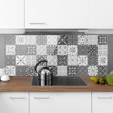 Paraschizzi in vetro - Tile Pattern Mix Gray White - Panoramico