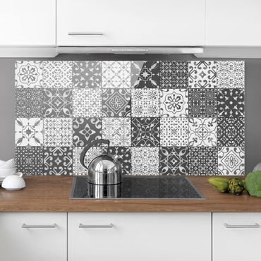 Paraschizzi in vetro - Tile Pattern Mix Gray White - Orizzontale 1:2