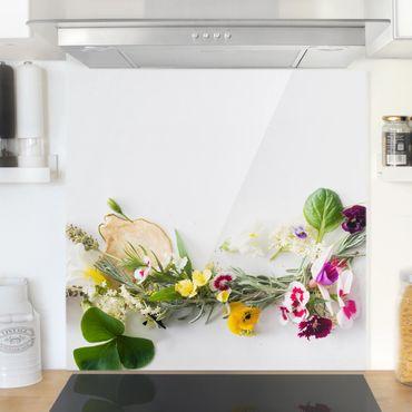 Paraschizzi in vetro - Fresh Herbs With Edible Flowers - Quadrato 1:1