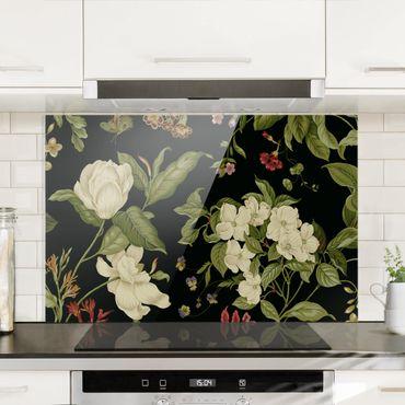 Paraschizzi in vetro - Giardino fiorito su nero - Orizzontale 2:3