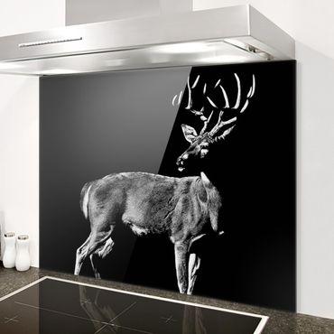 Paraschizzi in vetro - Cervo su nero - Orizzontale 3:4