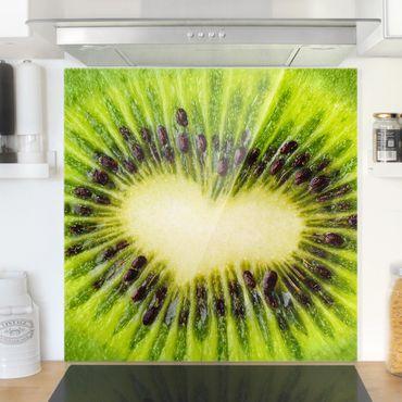 Paraschizzi in vetro - Kiwi Heart - Quadrato 1:1