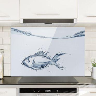 Paraschizzi in vetro - Liquid Silver Fish - Orizzontale 2:3