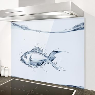 Paraschizzi in vetro - Liquid Silver Fish - Orizzontale 3:4