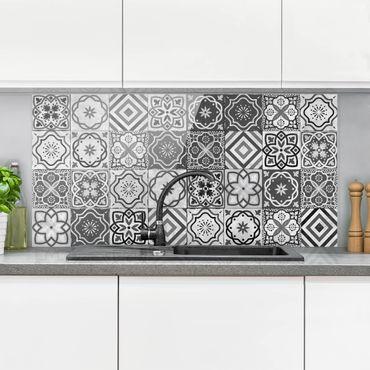 Paraschizzi in vetro - Mediterranean Tile Pattern Grayscale - Orizzontale 1:2