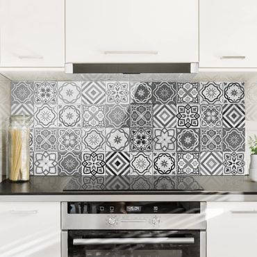 Paraschizzi in vetro - Mediterranean Tile Pattern Grayscale - Panoramico