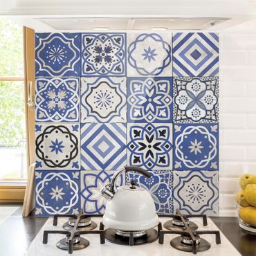 Paraschizzi in vetro - Mediterranean Tile Pattern - Quadrato 1:1