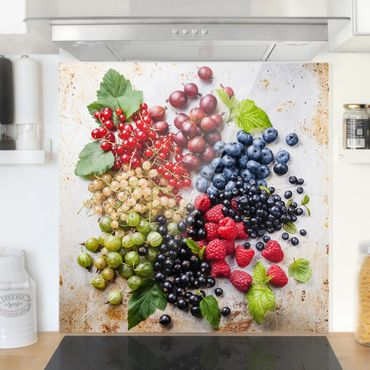 Paraschizzi in vetro - Mixture Of Berries On Metal - Quadrato 1:1