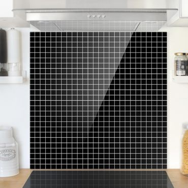 Paraschizzi in vetro - Mosaic Tiles Black Matt - Quadrato 1:1