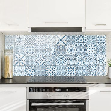 Paraschizzi in vetro - Pattern Tiles Blue White - Panoramico