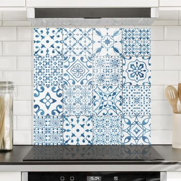 Paraschizzi in vetro - Pattern Tiles Blue White - Quadrato 1:1
