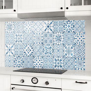Paraschizzi in vetro - Pattern Tiles Blue White - Orizzontale 2:3
