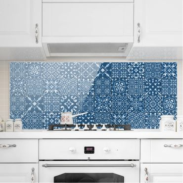 Paraschizzi in vetro - Pattern Tiles Navy White - Panoramico