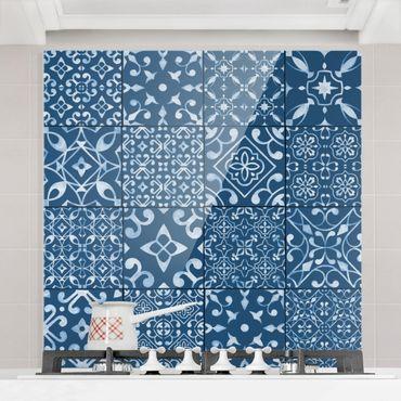 Paraschizzi in vetro - Pattern Tiles Navy White - Orizzontale 2:3