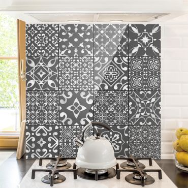Paraschizzi in vetro - Pattern Tiles Dark Gray White - Orizzontale 1:2