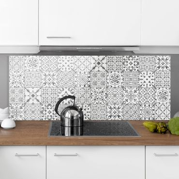 Paraschizzi in vetro - Pattern Tiles Gray White - Panoramico