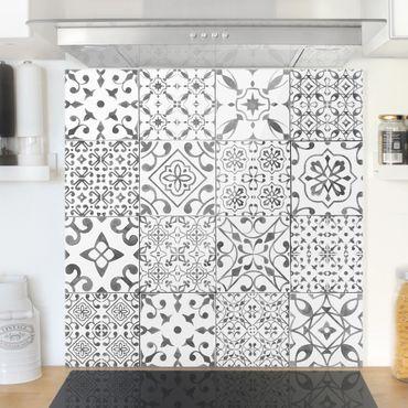 Paraschizzi in vetro - Pattern Tiles Gray White - Quadrato 1:1