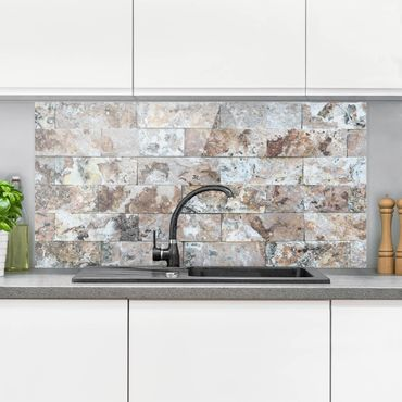 Paraschizzi in vetro - Natural Marble Stone Wall - Orizzontale 1:2