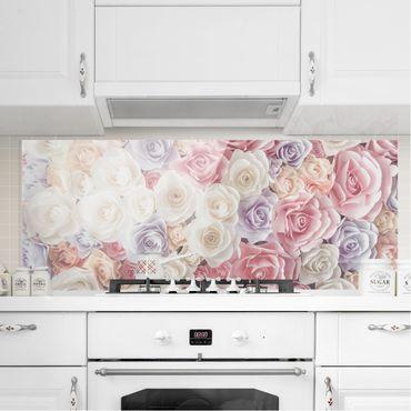 Paraschizzi in vetro - Pastel Paper Art Roses - Panoramico