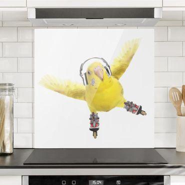 Paraschizzi in vetro - Skate Parakeet - Quadrato 1:1