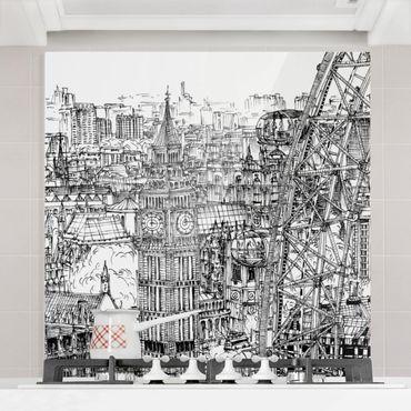Paraschizzi in vetro - Studi di città - London Eye - Quadrato 1:1