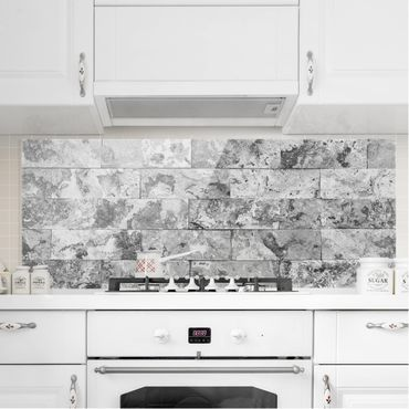 Paraschizzi in vetro - Stone Wall Natural Marble Grey - Panoramico