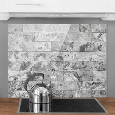 Paraschizzi in vetro - Stone Wall Natural Marble Grey - Orizzontale 2:3