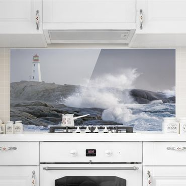 Paraschizzi in vetro - Storm Waves At The Lighthouse - Orizzontale 1:2