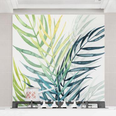 Paraschizzi in vetro - Vegetazione tropicale - Palma - Quadrato 1:1