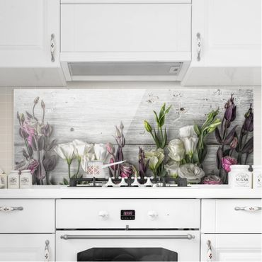 Paraschizzi in vetro - Tulip Rose Shabby Wood Look - Panoramico