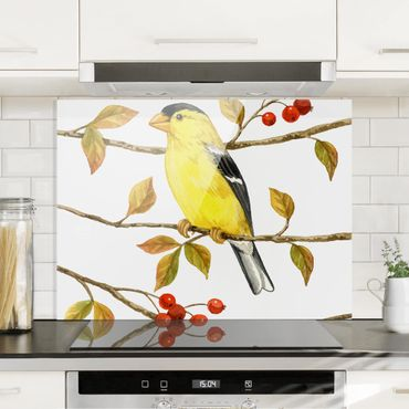 Paraschizzi in vetro - Uccelli e Bacche - Cardellino - Orizzontale 3:4