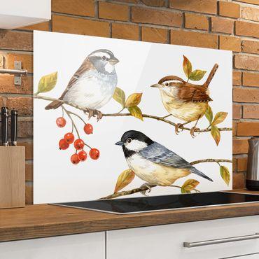 Paraschizzi in vetro - Uccelli e Bacche - Cinciallegre - Orizzontale 2:3