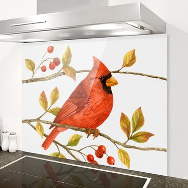 Paraschizzi in vetro - Uccelli e Bacche - Northern Cardinal - Orizzontale 3:4