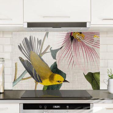 Paraschizzi in vetro - Uccello su lino Giallo I - Orizzontale 2:3