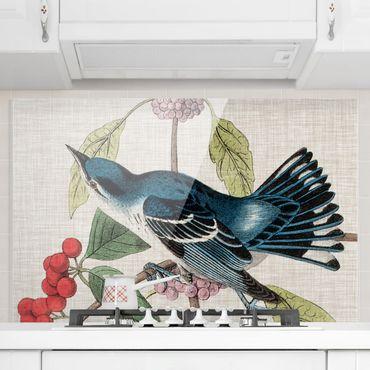 Paraschizzi in vetro - Uccello su lino rosa II - Orizzontale 2:3