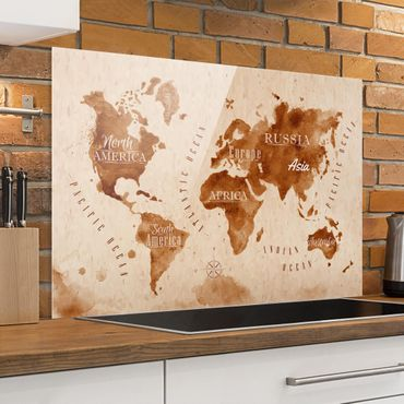 Paraschizzi in vetro - World Map Watercolor Beige Brown - Orizzontale 2:3