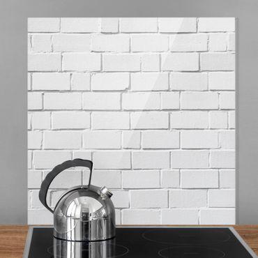 Paraschizzi in vetro - White Stone Wall - Quadrato 1:1