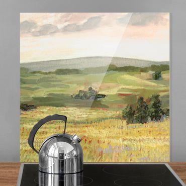 Paraschizzi in vetro - Prato di mattina - Quadrato 1:1
