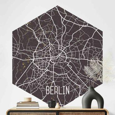 Carta da parati esagonale adesiva con disegni - Mappa di Berlino - Rétro