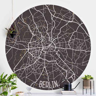 Carta da parati rotonda autoadesiva - Mappa Berlino - Retro