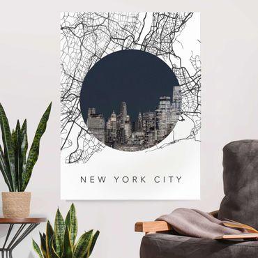 Quadro in vetro - Collage mappa di New York City